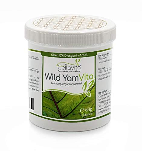 Cellavita Wild Yam Vita (Yamswurzel) Pulver & Kapseln   Vegan   Ohne Zusatzstoffe   (150 Kapseln)