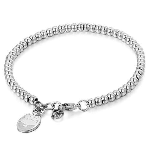 JewelryWe Joyas pulsera de la suerte para las mujeres, acero inoxidable pulido, pulseras para novias, bolas de estilo simple, colgante corazón dulce para buena suerte, color plata rosa del oro gato