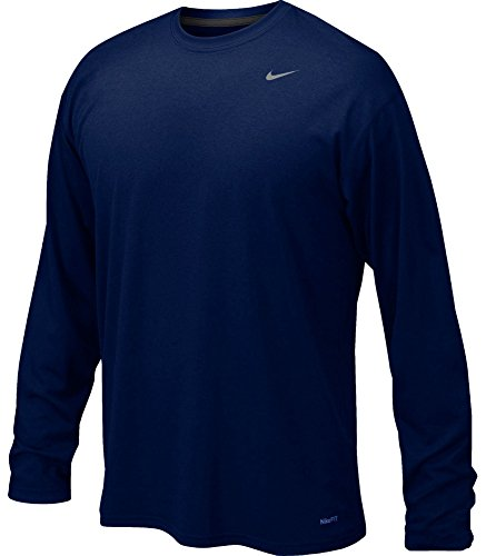 Nike Mens Legend Poly Long Sleeve Dri-Fit Training Shirt College Navy/Matte Silver 384408-419 Size Large
