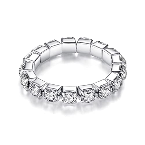 PROTUSTER Statement Elastic Crystals Rings for Women Crystal Rhinestone Stretch Ring Open Ring Adjustable Silver Jewelry for Girls 1 Row(Silver 1)