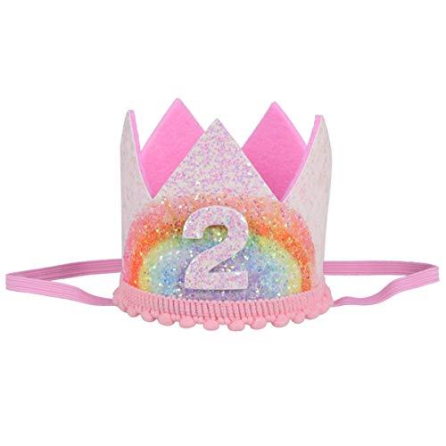 Amosfun Baby 2e verjaardag kroon hoed hoofdband prinses tiara partyhoeden haaraccessoires glitter party hoedje voor babyshower kinderverjaardag hoofdtooi hoofddeksel foto rekwisieten