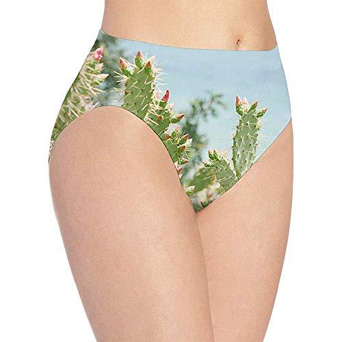 Elaine-Shop 3D Print Intimo da donna morbido Cactus Thorn Fashion Flirty Sexy Slip mutandine da donna, M (giro vita: 34 cm)