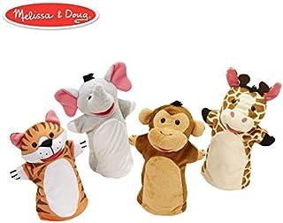 "Melissa & Doug Zoo Friends Hand Puppets, Puppet Sets, Elephant, Giraffe, Tiger, and Monkey, Soft Plush Material, Set of 4, 14"" H x 8.5"" W x 2"" L"