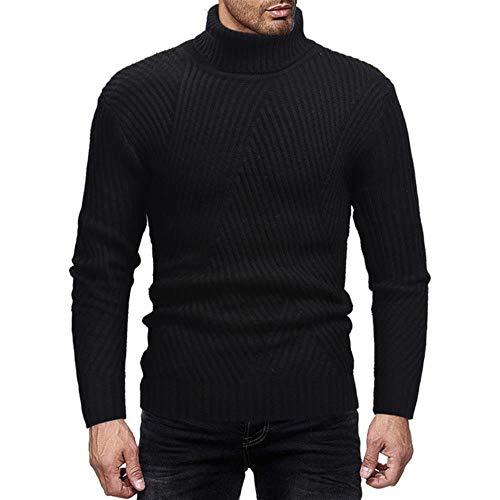 YANGPP Herren Winter Warmer Pullover Herren Doppelseitiger Hochgeschlossener Gestreifter Pullover Herrenbekleidung, Schwarz, XL