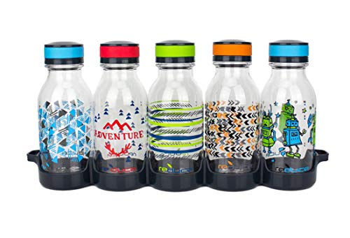 Reduce WaterWeek Reusable Water Bottles, 14oz  Includes 5 Refillable Water Bottles Plus Fridge Tray For Your Reusable Water Bottle Set  BPA-Free, Leak Proof Twist Off Cap  A Lunchbox Must