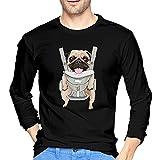 Cute Mops Baby Herren Langarm T-Shirt 100% Baumwolle Rundhals Freizeithemd, Schwarz , M