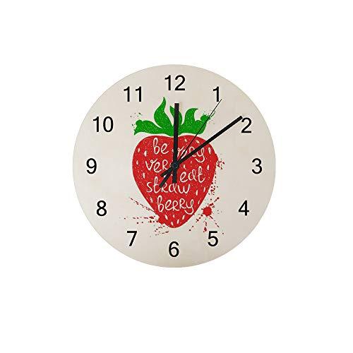 HaoXiang Wanduhr für Innendekoration Rote Erdbeere Holz Uhr 30x30x0,5 cm