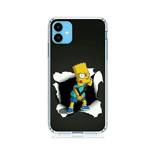 QNNN Transparent Coque Case for Apple iPhone 11, Simpsons-Family Bart-Homer 6 Soft Clear Anti-Yellowing TPU Cover Flexible Silikon