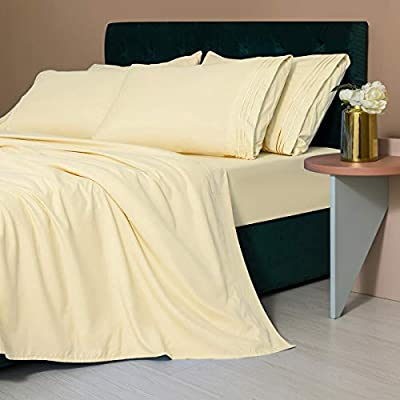 LIANLAM King Size Sheet Set - 6 Piece Bed Sheets - Super Soft Brushed Microfiber 1800 Thread Count - Breathable Luxury Sheets Deep Pocket - Wrinkle Free (Ivory, King)