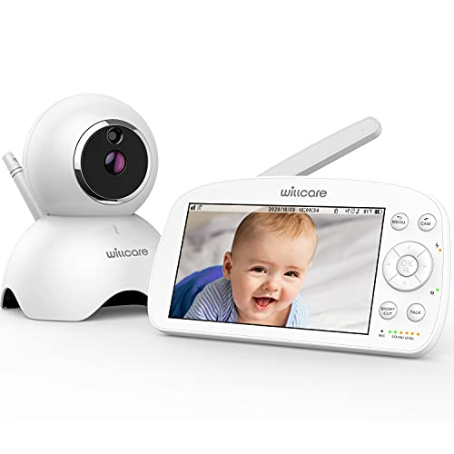 """Baby Monitor, Willcare 720P 5.5"""" HD Display Video Baby Monitor with Camera and Audio, 5000mAh Battery, Remote Pan&Tilt&Zoom, Two-Way Talk,Temperature Monitor, Night Vision, Lullaby Player, 960ft Range"""