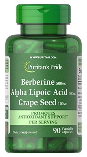Berberine, Alpha Lipoic Acid & Grape Seed by Puritan's Pride, Promotes Antioxidant Support, 90 Vegetable Capsules