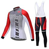 Coconut Ropamo Men's Cycling Clothing Sets Long Sleeve Cycling Jersey Sets Road Bike Clothing 4D Padded Cycling Bib Pants (3022, Large)