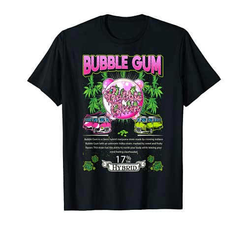 Chicle de burbujas Indica Cross Indiana Bubble Gum Cannabis Leaf Gif Camiseta