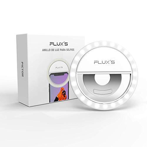 Anillo de Luz Selfie LED Mini Flux'S, Recargable por USB, con Pinza de Sujeción, para Móvil, Tablet o Portátil, para Selfies, Youtube, TIK Tok, Instagram, Directos, Videollamadas, Maquillaje