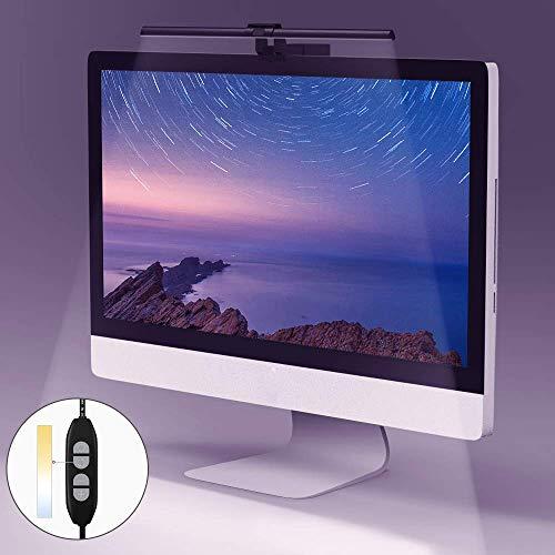 Quntis Monitor Lampe LED USB Dimmbar, Farben einstellbare Schreibtischlampe ohne Blendung Flimmern, Platzsparend Büro Arbeitslampe Bildschirmlampe Leselicht, Schwarz
