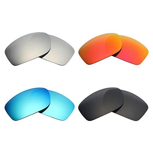 MRY 4Paar Polarisierte Ersatz Gläser für Oakley Fives Squared Sunglasses-Stealth schwarz/fire rot/Ice blau/Silber Titan