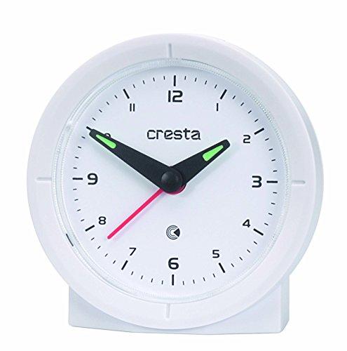 Cresta BAA330WH wekker analoog met automatische tijdinstelling, kunststof, wit, 7,5 x 3 x 7,5 cm