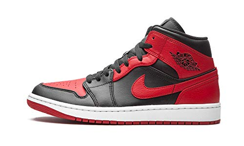 Nike - Zapatillas Air Jordan 1 Mid Banned, 554724 074, de color negro, rojo y blanco, para hombre, color, talla 43 EU