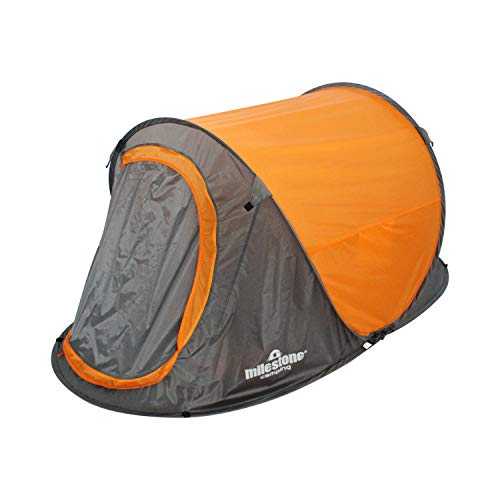 Milestone Camping 18809 2 Man Festival Pop-Up Tent with Carry Storage Bag, Orange and Grey, 1 Person