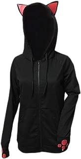 Womens Stylish Slim Cat Ear Zip Up Hooded Sweatshirt Jacket Coat