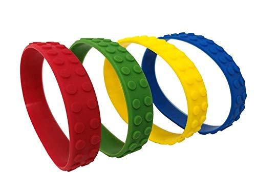 Playwrite 6 x Colour Brick Block Rubber Bracelets - Party Bag Fillers