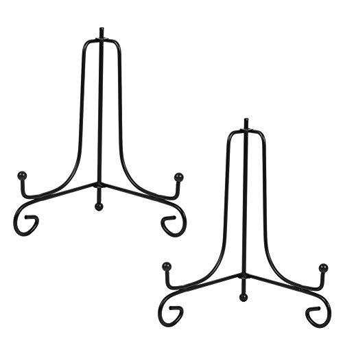 Tincogo (2 Stück Schwarz Metall Tellerständer Tellerhalter Eisen Staffelei Display Ständer für Schüssel Teller Kunst Foto Bilderrahmen 8 Zoll