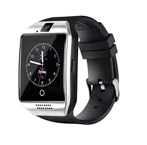 InterActive SmartWatch Q18 - Bluetooth Uhr Silber kompatibel mit Android iOS Windows intelligente Armbanduhr mit SIM & TF Slot 2018 Model Curved Display Kamera