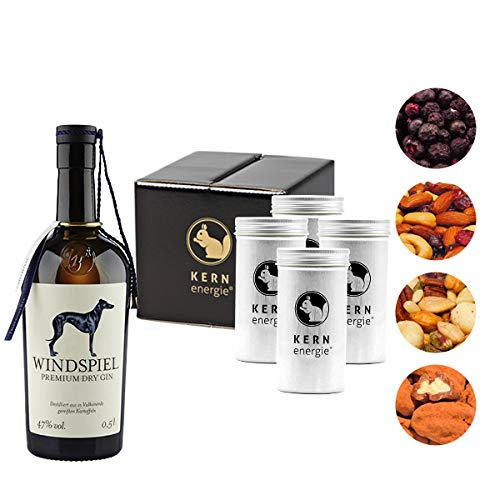 Windspiel Gin Geschenkset   Edles Dry Gin-Set mit Heidelbeeren und Nüssen von KERNenergie in absoluter Premium Qualität