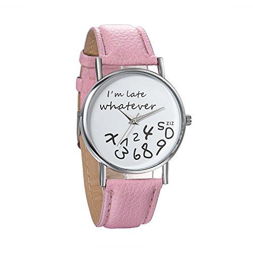 JewelryWe Damen Mädchen Armbanduhr, Whatever I'm Late Anyway Liebhaber Geschenk Analog Quarz Leder Armband Uhr mit Weißem Zifferblatt, Schwarz