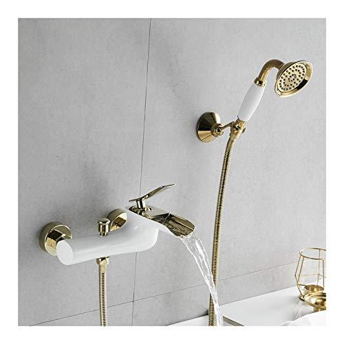 Shower Set Rubinetto Vasca Bagno Cascata Manico Singolo Rubinetto Doccia Montaggio a Parete Rubinetto per Vasca da Bagno con Doccetta, Acqua Calda e Fredda,White And Gold