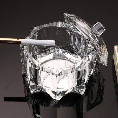 LLK 1 PC Creativa Personalidad Trend Crystal Glass Cenicero Anti-Grey Fly con Cubierta Home Home Sale Sello Multifunción