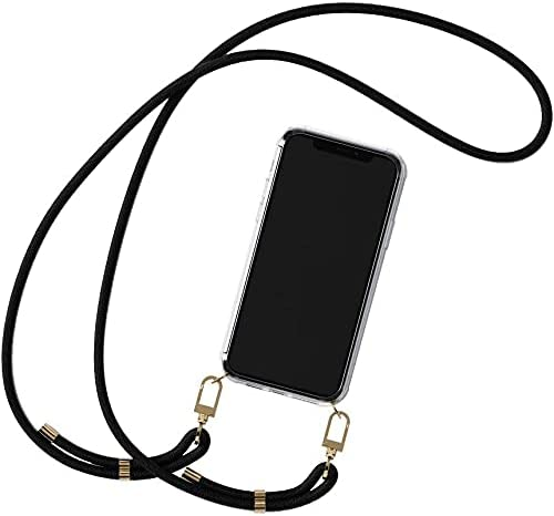 SHARON6 Crossbody Case Compatible with iPhone 11 Clear Transparent PC+TPU Hard Case Holder with Various Comfy Detachable Lanyard Strap TUK CASE (Black)