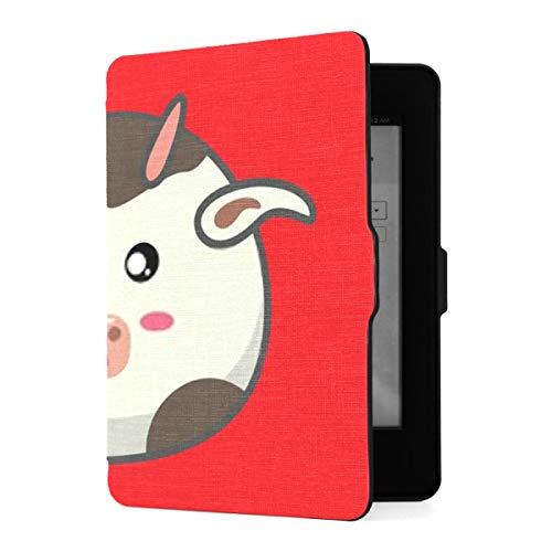 Kindle Paperwhite 1 2 3 Case, Vector Animals Cow Cartoon Style Cute PU Funda de Cuero con Smart Auto Wake Sleep para Amazon Kindle Paperwhite (para Las Versiones 2012, 2013, 2015