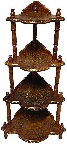 IB Eckregal Kashmir 4 F er mit Krone Handgeschnitzt Sheeshamholz Messingeinlagen Holz Regal