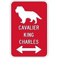 CAVALIER KING CHARLES マグネットサイン レッド:キャバリアキングチャールズ(大) シルエットイラスト&矢印 英語標識デザイン Wat...