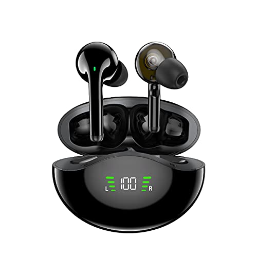 ZHKXBG TWS T12P Auriculares de Controlador dinámico Dual compatibles con Bluetooth 5.1 Control táctil de Graves Profundos Manos Libres en la Oreja con micrófono para teléfono