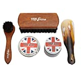 TopShine Kit de abrillantador de zapatos – Kit de abrillantador de zapatos – Contiene juego de cepillos para zapatos, cuerno para zapatos, crema de piel y cera de abeja – 50 ml