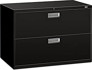 HON Products - HON - Brigade 600 Series Two-Drawer Lateral File, 42w x19-1/4d x 28-3/8h, Black - Sold As 1 Each - Counterweight included, where applicable, to meet ANSI/BIFMA stability requirements. - Lock secures both sides of drawer. - Heavy-duty, three-part, telescoping, steel ball bearing suspension for smooth drawer operation. - Mechanical interlock allows only one drawer to be open at a time to inhibit tipping. - Four adjustable leveling glides help compensate for uneven flooring.
