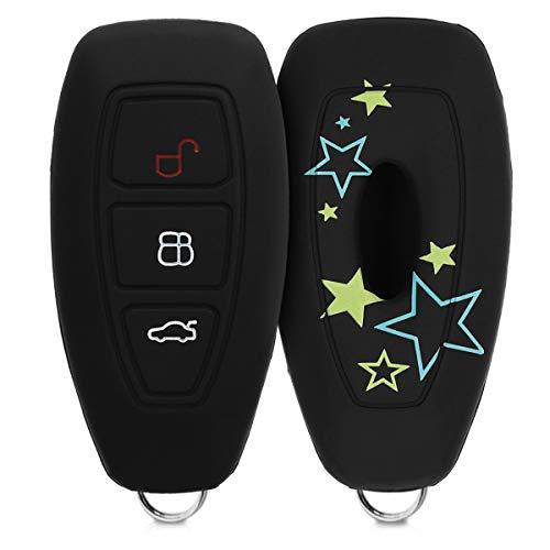 kwmobile Funda Compatible con Ford Llave de Coche Keyless Go de 3 Botones - Carcasa Protectora Suave de Silicona - Varias Estrellas