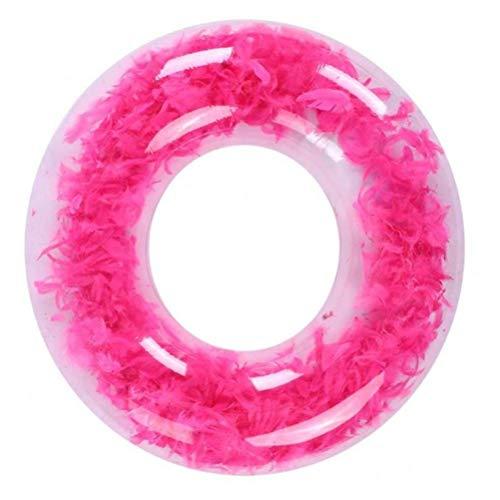 DFSDG Verano Nadar círculo Flotador Agua Piscina Fiesta Inflable natación Anillo Flotador Redondo Pluma Juguetes Nadar Accesorios de Piscina 90 cm (Color : Pink)