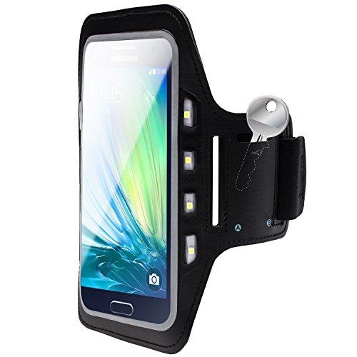 MOBILEFOX Handy LED-Licht Sport Armband Tasche Halter Hülle Case kompatibel mit Samsung Galaxy A5 Schwarz