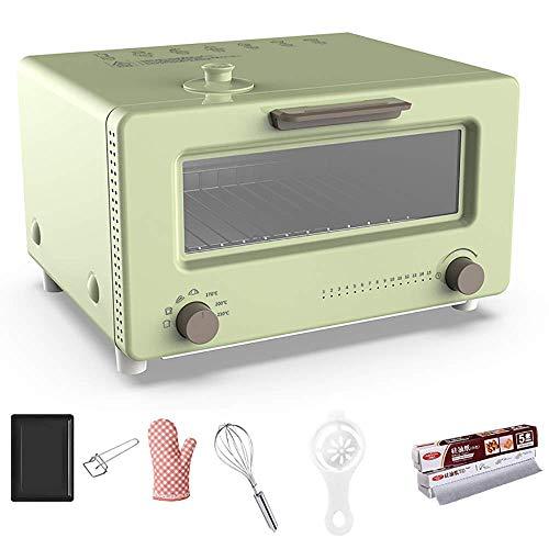 AFDK 10L Dampfgarer für sicheres Kochen, mit 6 Backzubehör, Toastofen mit Konvektion, Antihaft-Ölbeschichtung, pflegeleicht, Multi-Cooker, Pink-1300W,Grün,1300W