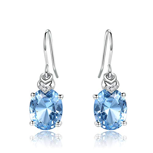 XinLuMing Pendientes de Aguamarina de Plata esterlina Azul óvalo de Cristal Gota halo Pendientes con Cristales, Regalo de joyería Fina para Mujer niña (Color : Blue)
