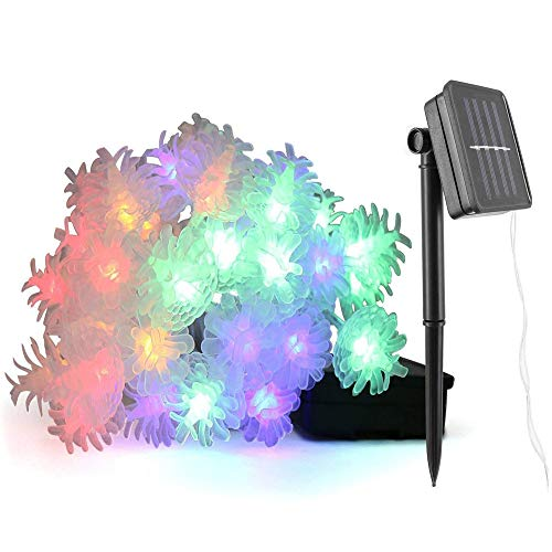 BOFYCW Solar Christmas Lights String Lights, Pinecone Decorative Lights Waterproof Indoor Outdoor Fairy Lights for Garden Patio Yard Christmas,30LED