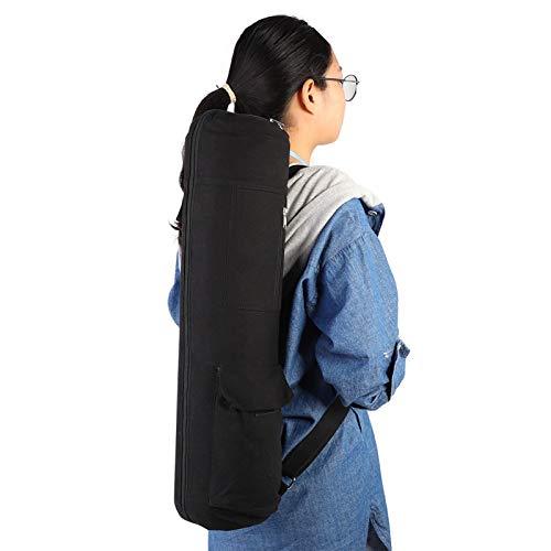 FOLOSAFENAR Mochila Negra con Correa Ajustable para Esterilla de Yoga y Bolsillo para Botella de Agua