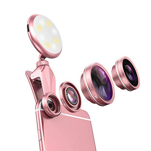 Vanjunn Selfie LED Light with Lens for iPhone 8 Plus 7 6s X Xs Max 11 11 pro max, Selfie Light with Lens Sets Kits for iPhone Samsung Cell Phone with 9 Modes LED Rechargeable Light