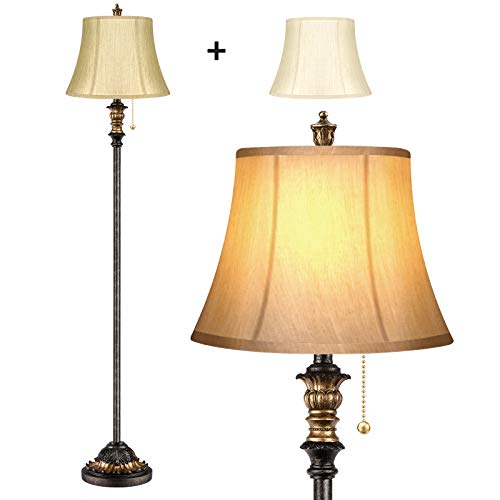 Traditional Floor Lamp, Classic Standing Lamp with 2 Silk Fabric Lampshades Bronze Vintage Tall Pole Lamp for Living Room Bedroom Office Rustic Upright Floor Light with Pull Chain Switch by PARTPHONER