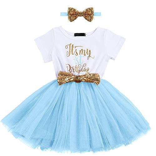 Bebé Niña 1er / 2do Cumpleaños Vestido de Princesa Trajes de Manga Corta Vestido de Tutú con Diadema de Lazo 2 Piezas Conjuntos de Ropa 0-24 Meses