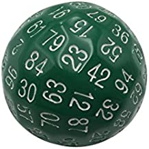 Single 100 Sided Polyhedral Dice (D100) | Solid Green Color with White Numbering (45mm) by Skull Splitter Dice