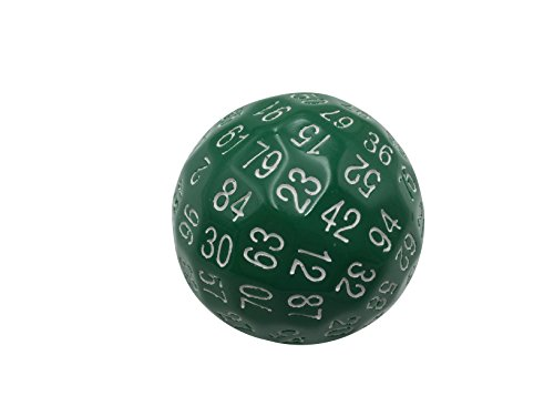 Single 100 Sided Polyhedral Dice (D100) | Solid Green Color with White Numbering...